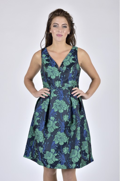 Geneva Dress Navy Jacquard - Floral