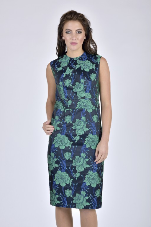 Florence Dress - Navy Floral Jacquard