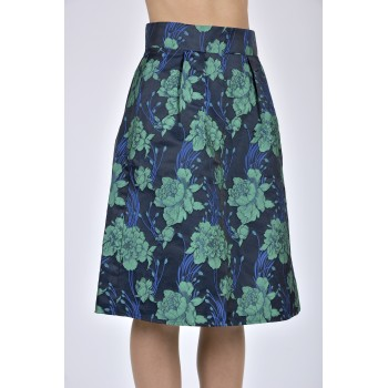 Willow Navy Floral Jacquard Skirt